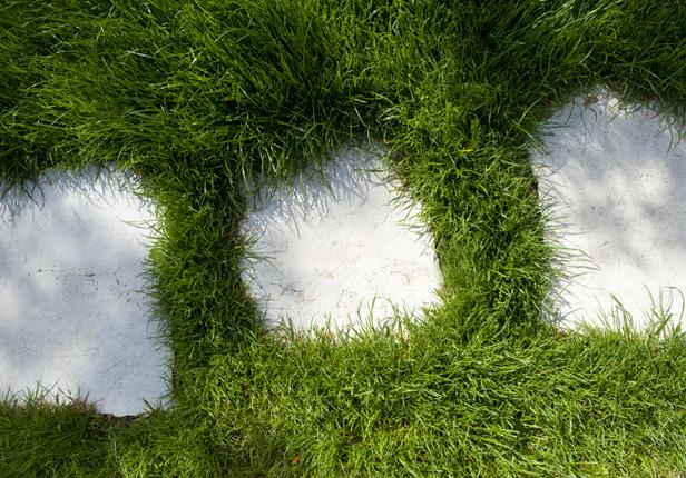 Rasen mit Weg aus Steinen