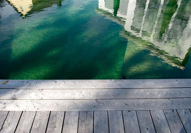 Schwimmteich mit Holzterrasse in München