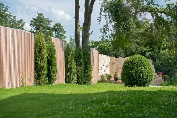 Zäume kombinieren aus Holz, Pflanzen, Bäumen und Steinmauer